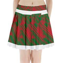 Red and green abstract design Pleated Mini Mesh Skirt