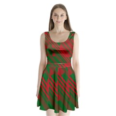 Red And Green Abstract Design Split Back Mini Dress