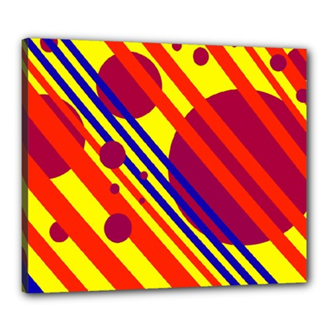 Hot circles and lines Canvas 24  x 20