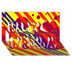 Hot circles and lines Happy Birthday 3D Greeting Card (8x4)