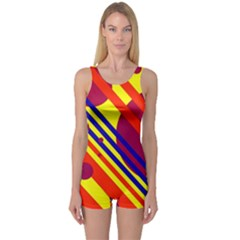 Hot circles and lines One Piece Boyleg Swimsuit