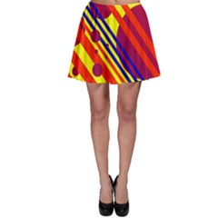 Hot circles and lines Skater Skirt