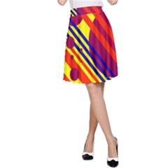 Hot circles and lines A-Line Skirt