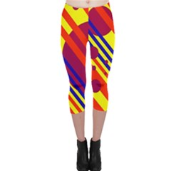 Hot circles and lines Capri Leggings