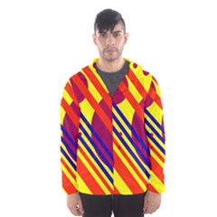 Hot circles and lines Hooded Wind Breaker (Men)