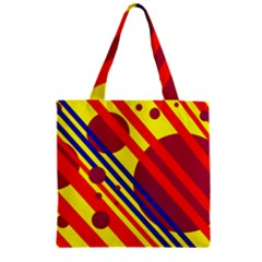 Hot circles and lines Zipper Grocery Tote Bag