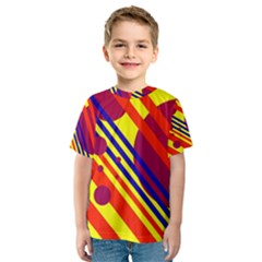 Hot circles and lines Kid s Sport Mesh Tee