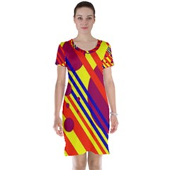Hot circles and lines Short Sleeve Nightdress