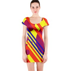Hot circles and lines Short Sleeve Bodycon Dress