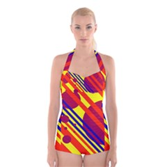 Hot circles and lines Boyleg Halter Swimsuit