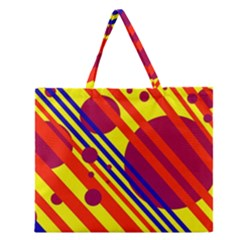 Hot Circles And Lines Zipper Large Tote Bag