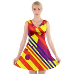 Hot circles and lines V-Neck Sleeveless Skater Dress