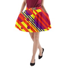 Hot circles and lines A-Line Pocket Skirt
