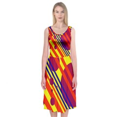 Hot Circles And Lines Midi Sleeveless Dress
