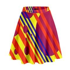 Hot circles and lines High Waist Skirt