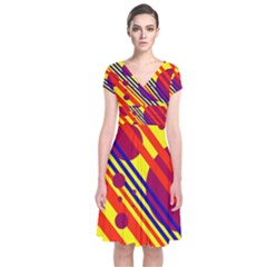 Hot circles and lines Short Sleeve Front Wrap Dress
