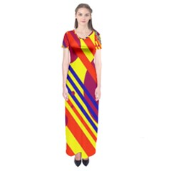 Hot circles and lines Short Sleeve Maxi Dress