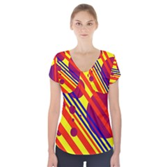 Hot circles and lines Short Sleeve Front Detail Top