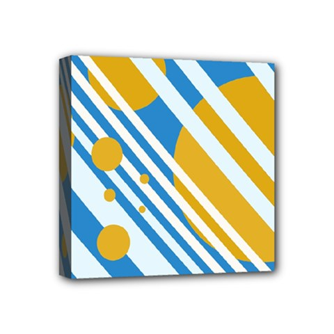 Blue, yellow and white lines and circles Mini Canvas 4  x 4