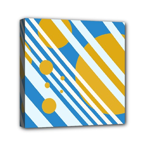 Blue, yellow and white lines and circles Mini Canvas 6  x 6