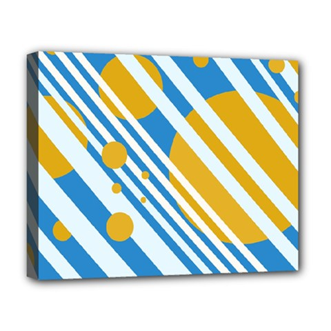 Blue, yellow and white lines and circles Deluxe Canvas 20  x 16