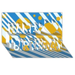 Blue, yellow and white lines and circles Happy Birthday 3D Greeting Card (8x4)