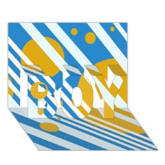 Blue, yellow and white lines and circles BOY 3D Greeting Card (7x5)