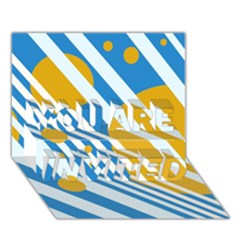 Blue, yellow and white lines and circles YOU ARE INVITED 3D Greeting Card (7x5)