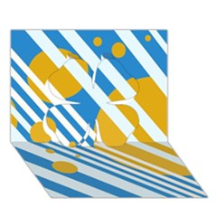 Blue, yellow and white lines and circles Clover 3D Greeting Card (7x5)