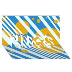 Blue, yellow and white lines and circles HUGS 3D Greeting Card (8x4)