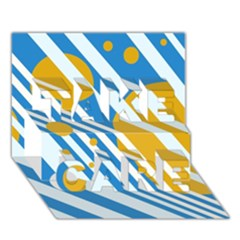 Blue, yellow and white lines and circles TAKE CARE 3D Greeting Card (7x5)