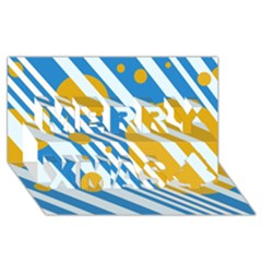 Blue, yellow and white lines and circles Merry Xmas 3D Greeting Card (8x4)