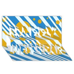 Blue, yellow and white lines and circles Happy New Year 3D Greeting Card (8x4)