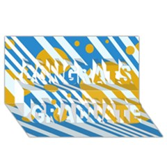 Blue, yellow and white lines and circles Congrats Graduate 3D Greeting Card (8x4)
