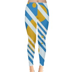 Blue, yellow and white lines and circles Leggings