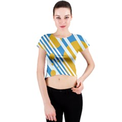 Blue, yellow and white lines and circles Crew Neck Crop Top
