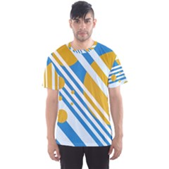 Blue, yellow and white lines and circles Men s Sport Mesh Tee