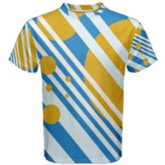 Blue, yellow and white lines and circles Men s Cotton Tee