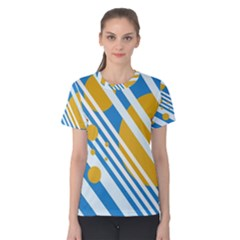 Blue, yellow and white lines and circles Women s Cotton Tee
