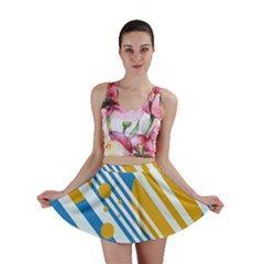 Blue, yellow and white lines and circles Mini Skirt