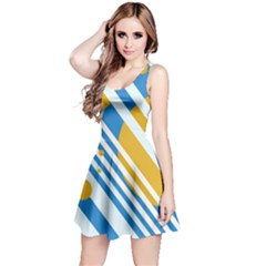 Blue, yellow and white lines and circles Reversible Sleeveless Dress