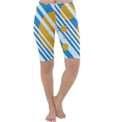Blue, yellow and white lines and circles Cropped Leggings
