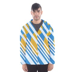 Blue, yellow and white lines and circles Hooded Wind Breaker (Men)