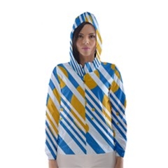 Blue, yellow and white lines and circles Hooded Wind Breaker (Women)