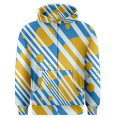 Blue, yellow and white lines and circles Men s Zipper Hoodie