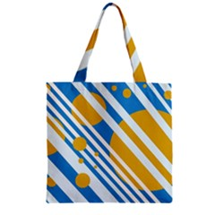 Blue, yellow and white lines and circles Zipper Grocery Tote Bag