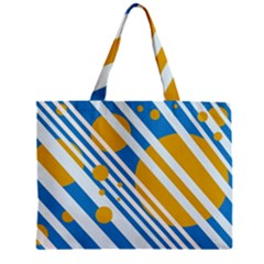 Blue, yellow and white lines and circles Zipper Mini Tote Bag