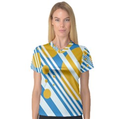 Blue, yellow and white lines and circles Women s V-Neck Sport Mesh Tee