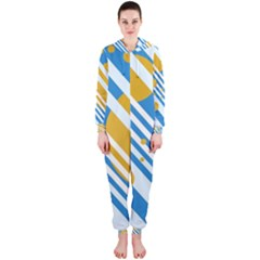 Blue, yellow and white lines and circles Hooded Jumpsuit (Ladies)