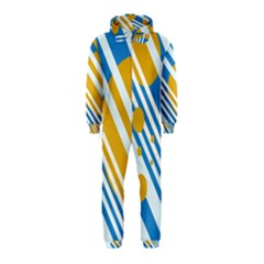 Blue, yellow and white lines and circles Hooded Jumpsuit (Kids)